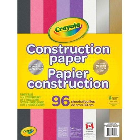Papier construction Crayola, 96 feuilles