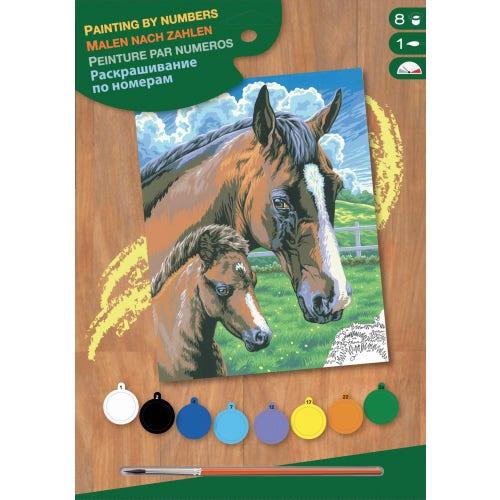 Peinture à numéros junior - Cheval et poulain